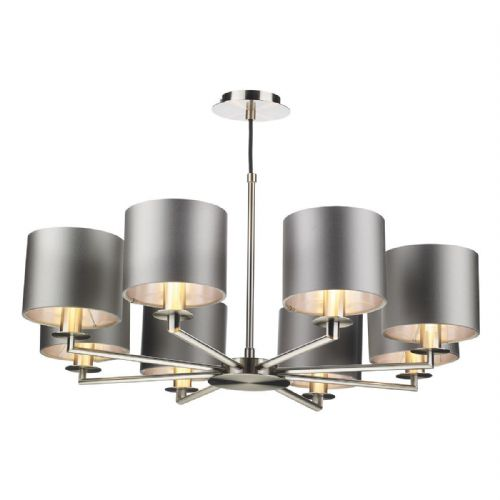 Rex 8Lt Pendant Satin Nickel Complete with Shades REX0838 (Choose colour, Hand made, 10-14 day Del)
